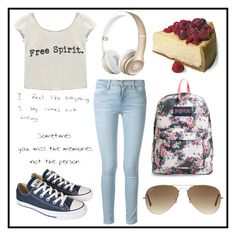 """#154 random"" by xjet1998x ❤ liked on Polyvore featuring JanSport, Frame Denim, Wet Seal, Converse and Ray-Ban"