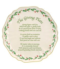 Lenox Holiday Carved Porcelain Giving Plate