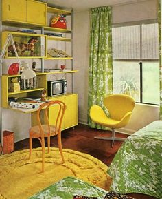 Bedroom Decor Kiddo Time Machine Vintage Kids Room Were Swank Modern Kiddo Room Accessories, retro interior design inspiration, contemporary interior design 70s Bedroom, Retro Bedrooms, Bedroom Themes, Kid Bedrooms, Bedroom Kids, Kids Room, Bedroom Yellow, Modern Bedroom, Retro Living Rooms