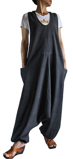ChomThong Hand Woven Cotton Loose Aladdin Overalls (Charcoal Gray )