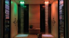 Create an amazing shower area with Bossini Twin coloured led shower heads and imaginative design.  #bathroom #lighting #coloured #led #shower #amazing