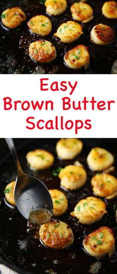 These Easy Brown Butter Scallops are so luscious, tender, and literally melt right in your mouth! #scallops #seafood #easyrecipes #glutenfree #dinner