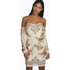 Boohoo Boutique Boutique Eva Embellished Off Shoulder Dress ($60) ❤ liked on Polyvore featuring dresses, copper, sequin bodycon dress, party dresses, pink cocktail dress, pink sequin dress and off shoulder maxi dress