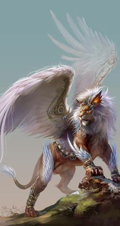 Majestic winged lion.