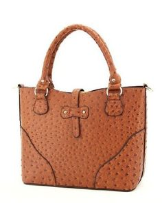 Brown Ostrich Designer Inspired Animal Print Lined Satchel Handbag