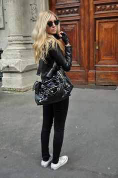 Love everything, handbag. black everything. white converses.