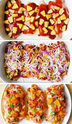 Easy Baked Chicken - quick recipe - perfect to make for a family weeknight dinner. The ingredients list includes chicken breasts, BBQ sauce, red onions, pineapple, bacon. Quick Recipes, Low Carb Recipes, Cooking Recipes, Healthy Recipes, Quick Meals, Carrot Recipes, Smoker Recipes, Spinach Recipes, Rib Recipes