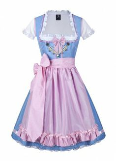 Anina W Dirndl Colette 235, cute and elegant Dirndl made from baby-blue and soft pink raw silk.