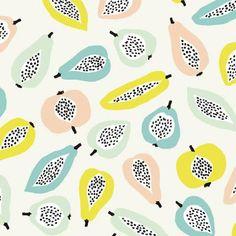 peach pink, green yellow, blue green, pale green - print pattern by caroline bourles