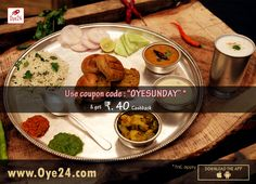 Get the ultimate flavors of North-Indian  Dal-Bafla and Dal Baati Oye24's Sunday Special menu at your doorstep 😋 Use coupon code 'OYESUNDAY' & get Rs.40 Cashback on Dal Baati and Dal Bafle both. Available on Pre-order and Order both. All products are incl. of taxes. Book your Dal Bati/Bafle now. Desi flavors on a Sunday afternoon from Oye24.  To Pre-order visit: www.oye24.com | call on 0731-4711711  Download the #App #sundayspecial #cashback #dalbaati #dalbafle #yummy #Oye24 #food #foodie