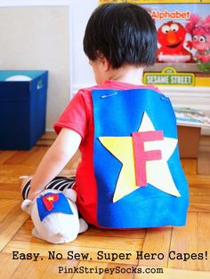 easy, no sew super hero cape! I love this one because my son's name starts with F! Crafts For Boys, Craft Projects For Kids, Arts And Crafts Projects, Sewing Projects, Kid Crafts, Craft Ideas, Kid Art, Art For Kids, Superhero Art Projects