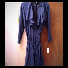 Navy knee length wrap dress Navy knee length, long sleeve wrap dress with rouche neck and ruffled like front, Size L, brand new. Vickytiel Dresses Long Sleeve