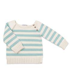 Pull bébé rayé bleu ciel en coton et bambou pour vos enfants. Tricoté à la main, en France.
