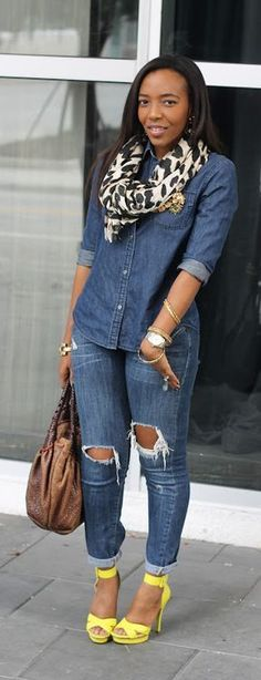 The Double Denim Trend; Casual Fall Outfits, Chic Outfits, Spring Outfits, Casual Wear, Fashion Outfits, Womens Fashion, Fashion Trends, Denim Fashion, Look Fashion