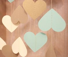 Wedding Garland Mint Green Gold & Cream Paper by MailboxHappiness