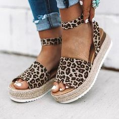 Leopard Espadrilles Flatform Wedge Buckle Open Toe Sandals - US 6 Open Toe Sandals, Wedge Sandals, Wedge Shoes, Women's Shoes, Golf Shoes, Shoes Style, Heeled Sandals, Flat Shoes, Sandals Outfit