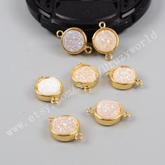 1Pcs 10mm Round Gold Plated Natural Agate Titanium AB White Druzy Connector Pendant Double Bails Handmade Sparkly Geode Jewelry Bead Finding by Druzyworld on Etsy
