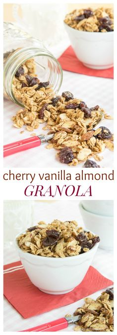 Cherry Vanilla Almond Granola - sweet and nutty with lots of crunch ...