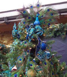 Cristhmas Tree Decorations Ideas : Tree topper of Peacock Christmas Tree. Christmas Tree Pictures, Creative Christmas Trees, Beautiful Christmas Trees, Christmas Tree Themes, Holiday Tree, Christmas Tree Toppers, Christmas Tree Decorations, Xmas Trees, Winter Holiday