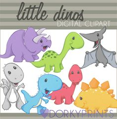 Little Dinosaurs Digital Clipart Set for -Personal and Commercial Use-paper crafts,card making,scrapbooking, and web design. $3.50, via Etsy.