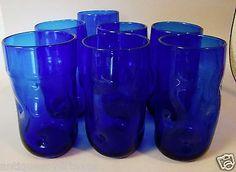 7 Vintage Blenko Blue Dimpled Large Tumblers Drinking Glasses