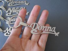 Personalized White Gold Name Keychain with Design by SpeciallyForU, $23.00