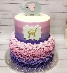 Pink and purple elephant ombré baby shower cake.