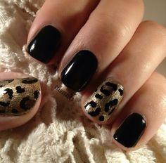 Gold Animal Print nails