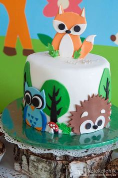 Fantastic cake at a woodland birthday party! See more party planning ideas at CatchMyParty.com!