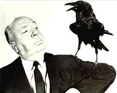 """A publicity still for """"The Birds"""" featuring director Alfred Hitchcock"""