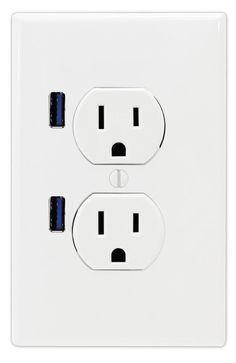 Amazon.com: FastMac ACE-7169 U-Socket Standard Duplex Dual Outlet Dual USB, 110V, 15AMP TruePower, White: Home Improvement