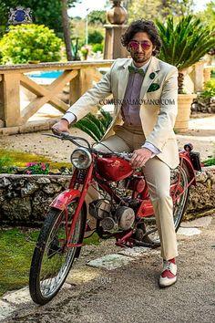 Traje de moda italiano marfil piqué algodón 1004 Ottavio Nuccio Gala