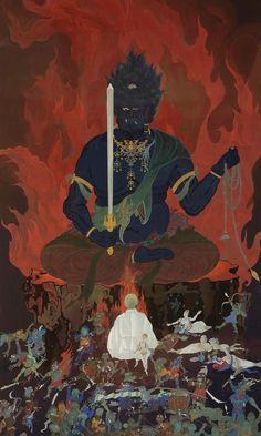 fudou myo o Japanese Artwork, Japanese Tattoo Art, Japan Painting, Tibetan Art, Beautiful Fantasy Art, Korean Art, China Art, Buddhist Art, Japan Art
