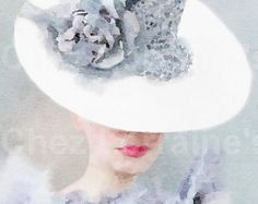 Gray Beauty:  A Watercolor Fashion Fine Art Print, Feminine Fashion Home Decor, Living Room Bedroom Gray and White Art