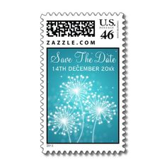 Wedding Save The Date Summer Sparkle Turquoise Postage Stamp $24.70
