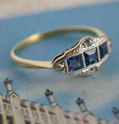 Erica Weiner Jewelry - Windows Art Deco Sapphire Ring