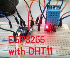 Hola amigos hoy les voy a mostrar como conectar el sensor DHT11 o DHT22 al modulo ESP8266 y mostrar la temperatura y humedad en una pagina web de una forma muy sencilla y con ayuda del IDE de Arduino programaremos el modulo wifi.Comencemos!
