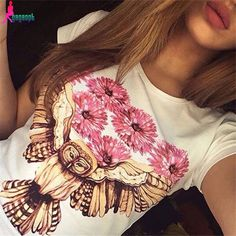 Best price on Casual T-shirt Owl Floral Print High Quality  �  Price: $ 20.80