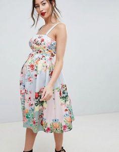 b2f86b4464c5c ASOS DESIGN Maternity square neck floral scuba prom dress Asos Maternity, Maternity  Dresses, Prom