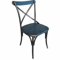 "Distressed side chair in blue with an x-shaped back.    Product: Chair  Construction Material: MDF and metal  Color: BlueFeatures: X-shaped backDimensions: 35.4"" H x 19.7"" W x 19.7"" D  Cleaning and Care: Clean with dry cloth"