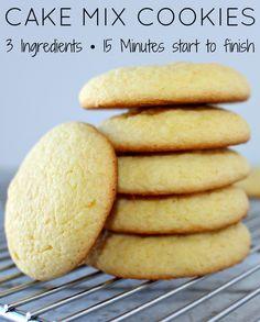3 Ingredients Cake Mix Cookies - 15 minutes start to finish