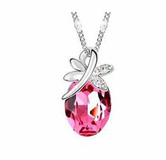 BHB(TM)Elegant Silver Pink Gem Diamond Necklace - Jewelry For Her