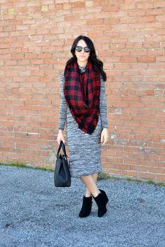 Fall Midi Dress_Blanket Scarf