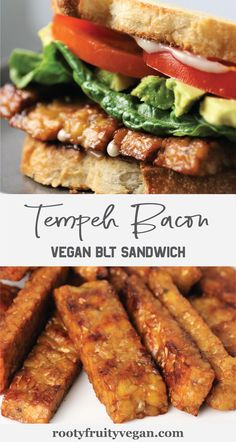This is the BEST Vegan BLT Sandwich recipe! The vegan bacon is made with tempeh, so it is gluten-free if you choose gluten-free bread. This vegan sandwich is easy to make and meal-prep friendly. The vegan tempeh bacon can also be frozen for later use. By the way, avocado brings this vegan BLT to the next level! Click through to try this vegan bacon lettuce and tomato sandwich for yourself!  #BLTrecipe #veganBLT #plantbasedsandwich #vegansandwich #plantbased #veganmealprep Blt Recipes, Vegan Dinner Recipes, Wrap Recipes, Delicious Vegan Recipes, Vegan Dinners, Whole Food Recipes, Breakfast Recipes, Gluten Free Sandwiches, Vegan Sandwiches