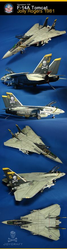 F-14A Tomcat des Jolly Rogers VF-84 en 1981 sur le USS Nimitz par René Joyal.  Maquette Hasegawa 1/48.      Visitez moi pour d'autres réalisations :   http://www.joycraft.ca/?p=494