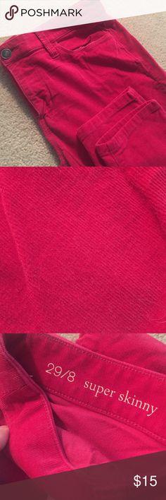 Loft Super Skinny Cords Crimson color, super soft-they look great on! LOFT Pants Skinny