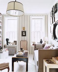 Use vertical stripes in a room with low ceilings to create an illusion of height.