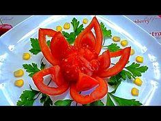 Цветок из помидора. Украшения из овощей. Decoration Of Vegetables