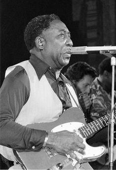 Blues musician Muddy Waters performs at New York's Palladium Theater, Oct. 1, 1977 in a benefit performance for the New York Public Library.  The proceeds will go to purchasing rare blues records. (AP Photo)