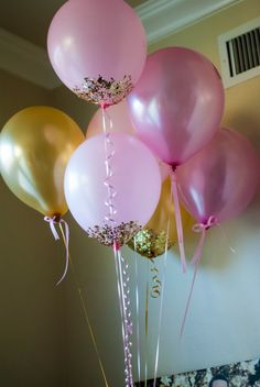 Pink and Gold Baby Shower Ideas Baby Birthday, First Birthday Parties, First Birthdays, Birthday Ideas, Pink Und Gold, Gold Balloons, Metallic Balloons, Golden Birthday, Baby Shower Princess